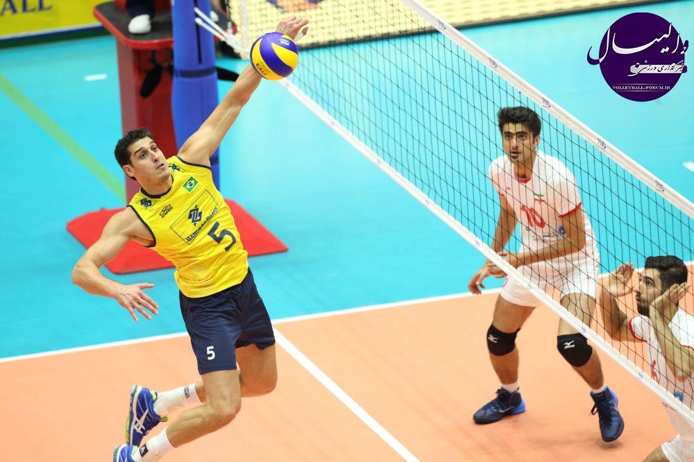 والیبال قهرمان قارهها - برزیل/والیبال ایران از برزیل قدرتمند یک ست گرفت
